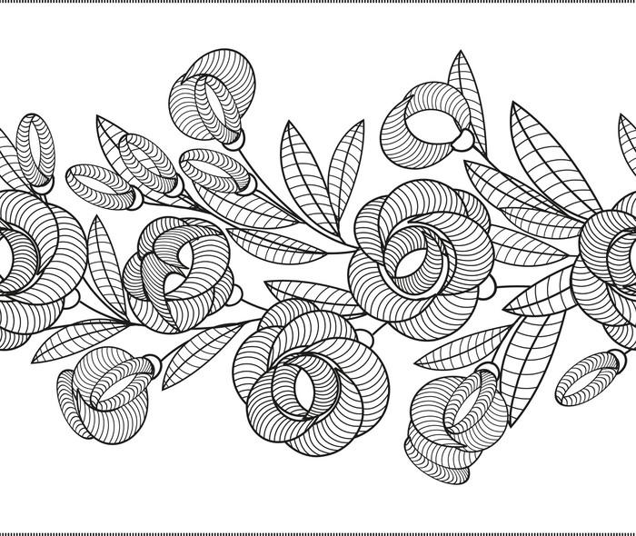 Vinylová Tapeta Horizontální květiny bezešvé vzor na pozadí - Pozadí
