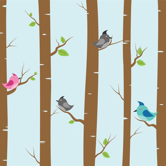 papier peint les oiseaux et les arbres pixers nous. Black Bedroom Furniture Sets. Home Design Ideas