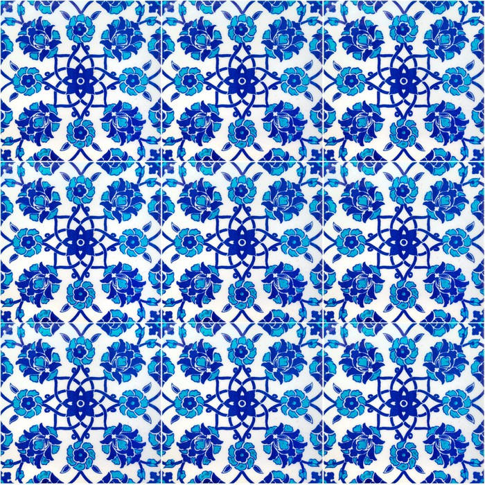 Vinylová Tapeta Květinový vzor na starých tureckých dlaždice, Istanbul, Turecko - Styly