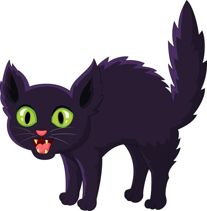 Vinilo Pixerstick Gato negro de dibujos animados asustado • Pixers ...
