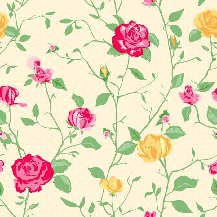 Papier Peint Shabby Chic Motif Rose Et Fond Transparent.