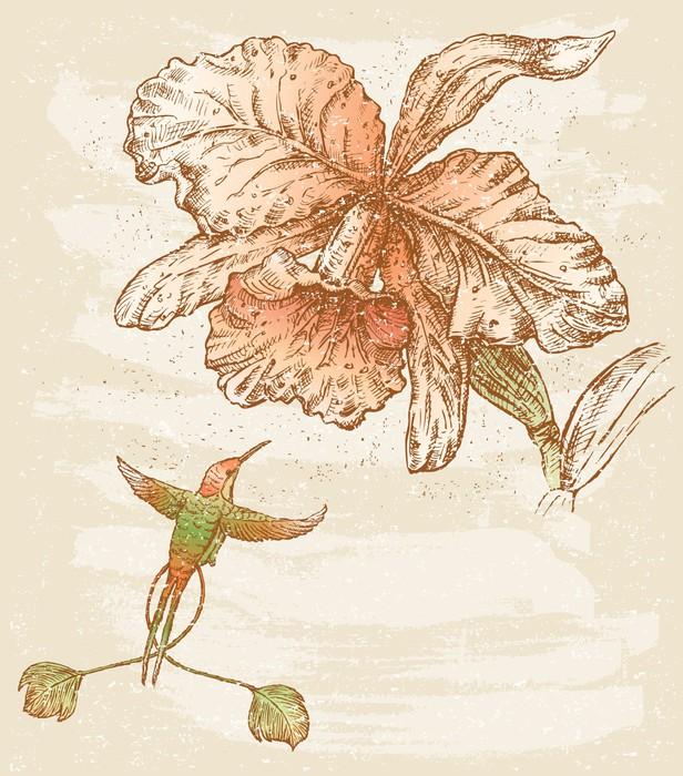 tableau sur toile orchid e et oiseau pixers nous vivons pour changer. Black Bedroom Furniture Sets. Home Design Ideas