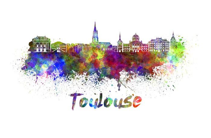 Vinylová Tapeta Toulouse panorama v akvarel - Evropa