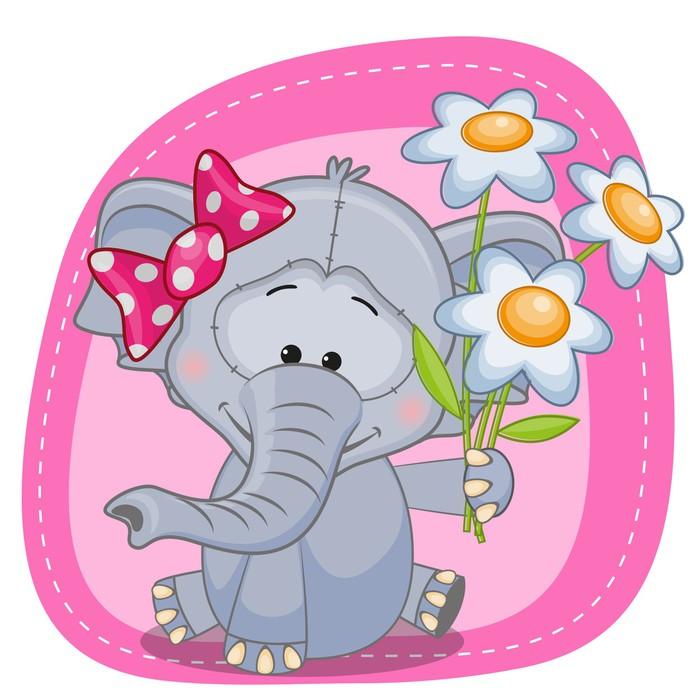 fototapete elefant mit blumen pixers wir leben um zu. Black Bedroom Furniture Sets. Home Design Ideas