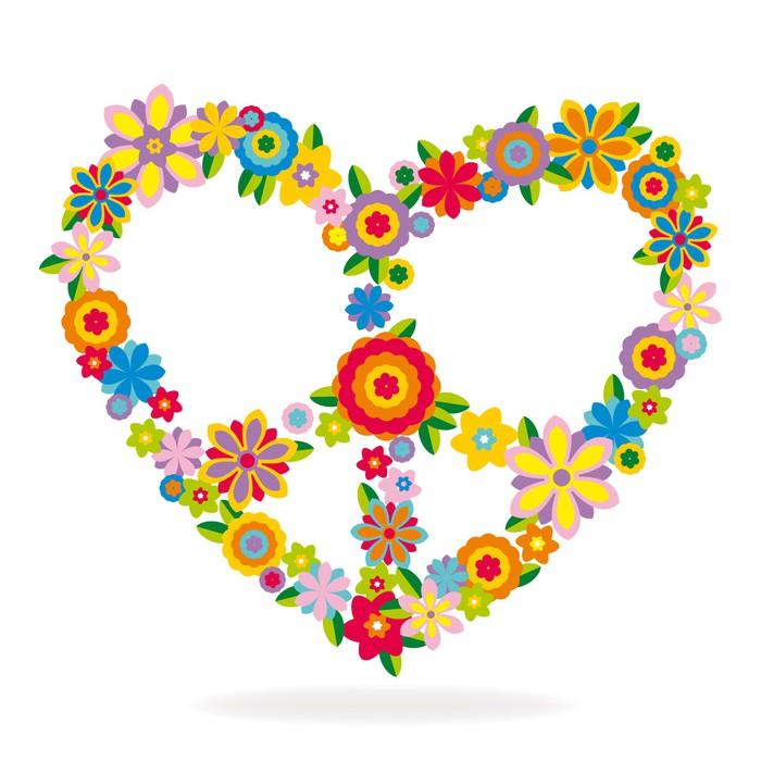 Vinylová Tapeta Mír srdce znamení vyrobené z květin - Mír