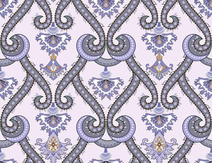 Fototapete damaskus muster in grau lila t nen pixers wir leben um zu ver ndern - Muster tapete lila grau ...