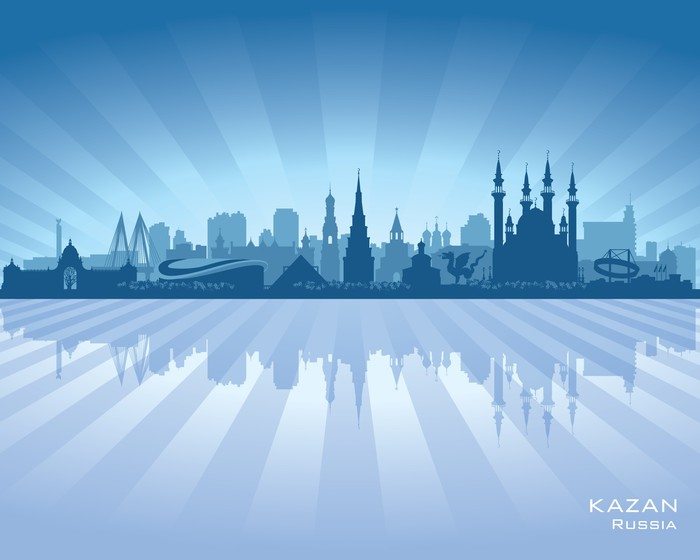 Vinylová Tapeta Kazan Ruska silueta panorama města - Asie