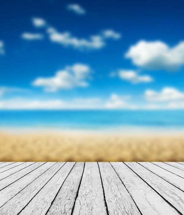 Vinylová Tapeta Dřevo, modré moře a nebe na pozadí - Pozadí