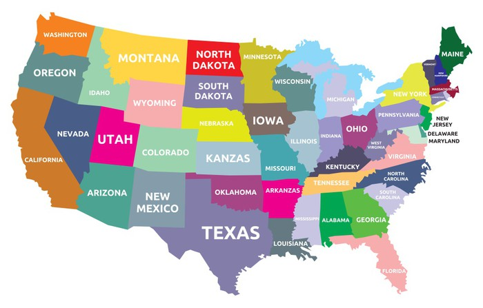 usa map with states vinyl wall mural themes