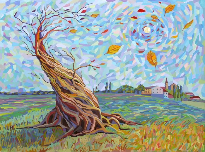 Vinylová Tapeta Krajina se stromem v grafickém stylu - Přírodní krásy