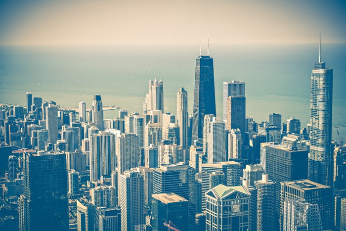 Chicago skyline aerial wall mural pixers we live to for Chicago skyline wall mural