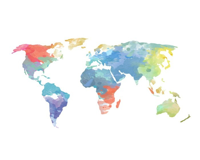 Watercolor world map poster sticker pixers we live to change watercolor world map poster pixerstick sticker wall decals gumiabroncs Image collections