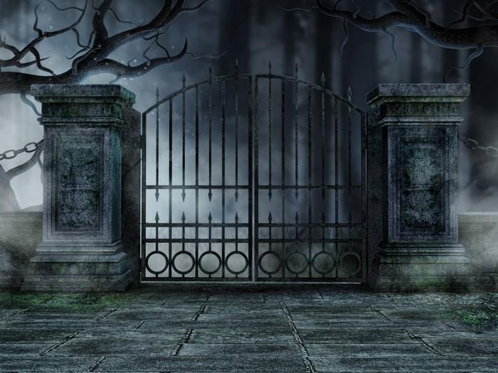 Vinylová Tapeta Hřbitovní brána se starými stromy - Roční období