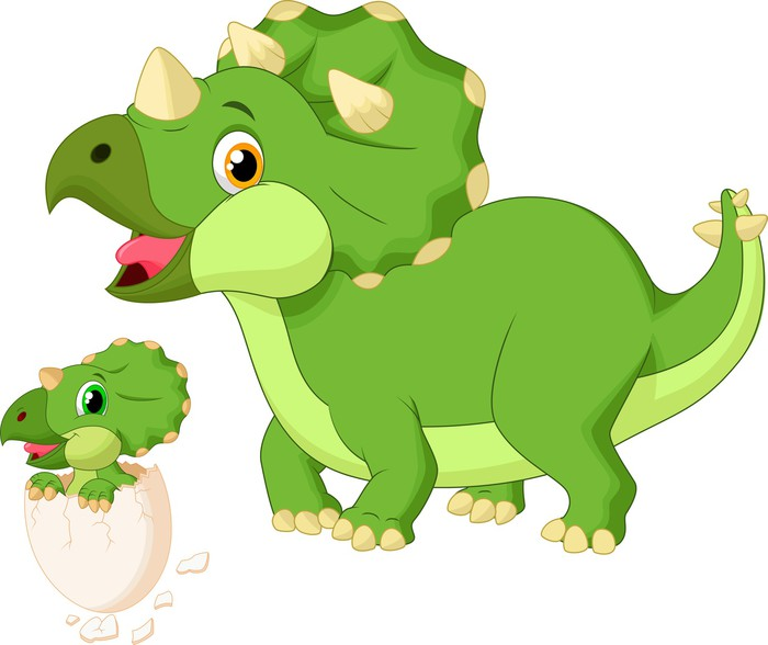 Mother triceratops with baby hatching pixerstick sticker wall decals