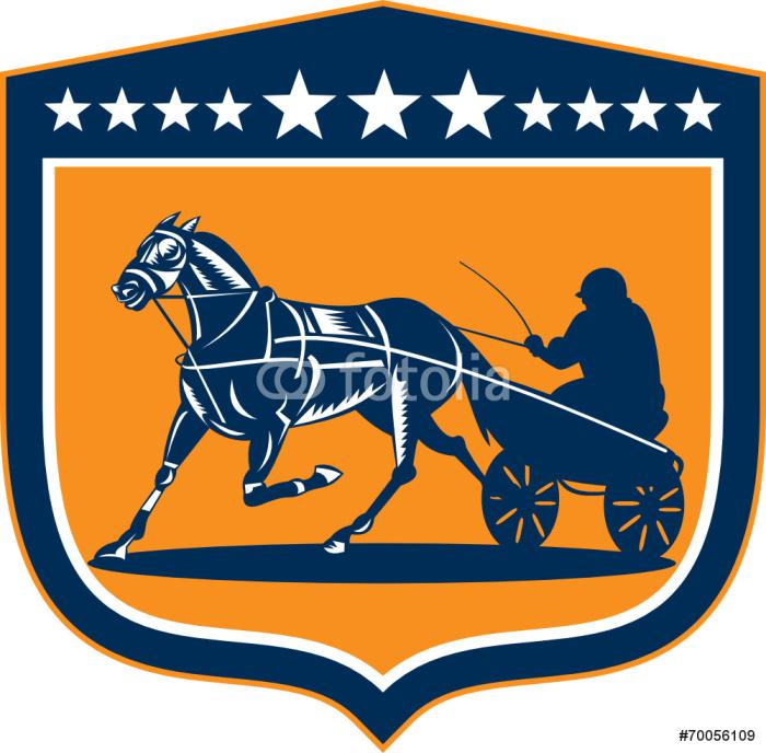 Vinylová Tapeta Horse and Jockey Klusáci Shield Retro - Individuální sporty