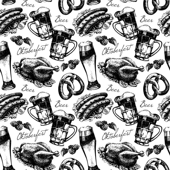 Vinylová Tapeta Oktoberfest vinobraní bezešvé vzor. Ručně kreslenými vektoru skica - Doplňky