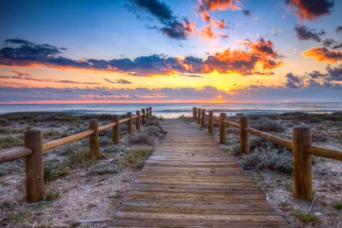 Vinylová Tapeta Západ slunce na pláži - Nebe