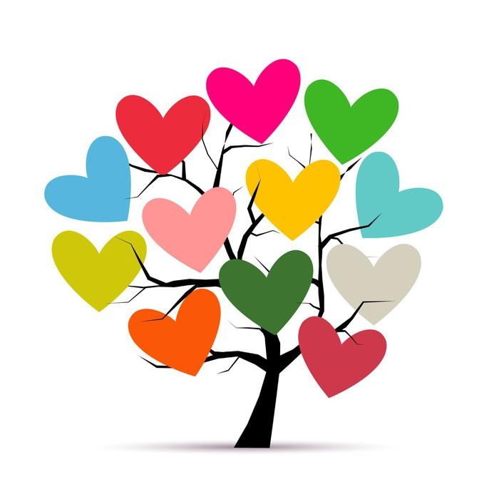 Amato Carta da Parati Amore albero con cuori per il vostro disegno  EV61