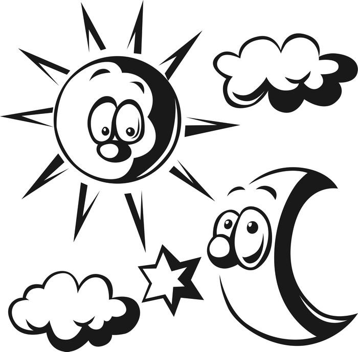 Fototapete Sonne, Mond, Wolken und Sterne - schwarzer Umriss ...