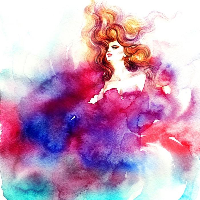 Vinylová Tapeta Portrét ženy .abstract akvarel .fashion pozadí - Styly