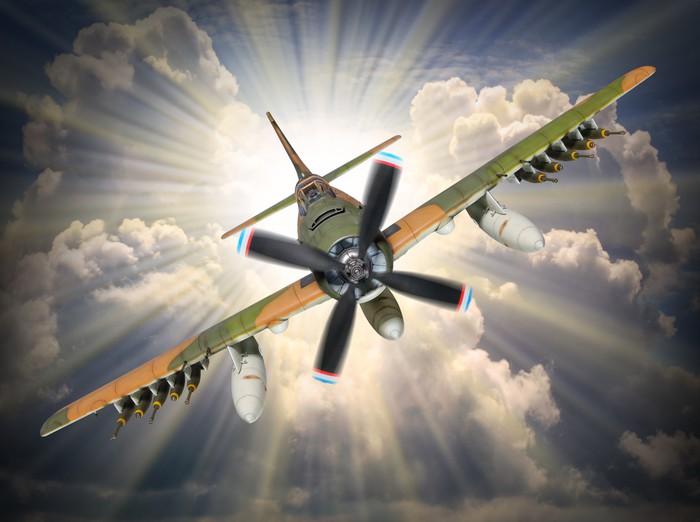 Nálepka Pixerstick Staré vrtule stíhačka příchozí před sluncem. -