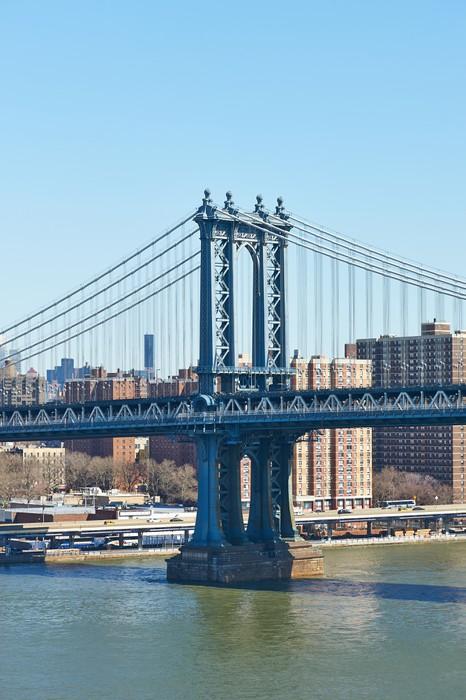Vinylová Tapeta Manhattan Bridge a panorama pohled z Brooklyn Bridge - Americká města