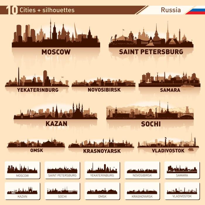 Vinylová Tapeta Panorama města set. 10 měst Ruska - Asijská města