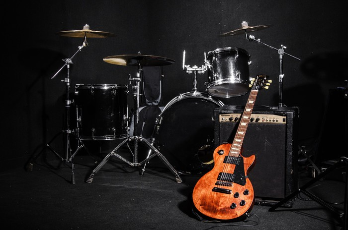 Set of musical instruments during concert wall mural for Concert wall mural