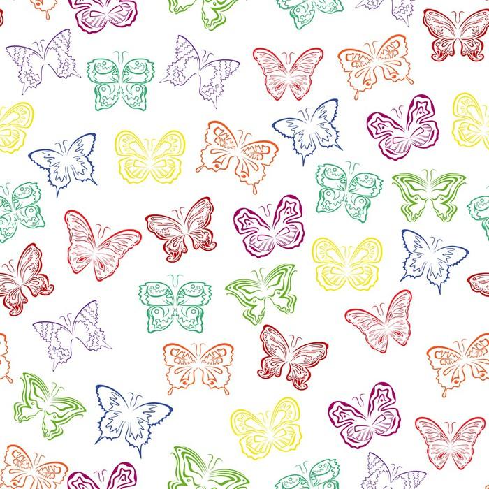 Vinylová Tapeta Bezešvé vzor s barevnými motýly - Pozadí