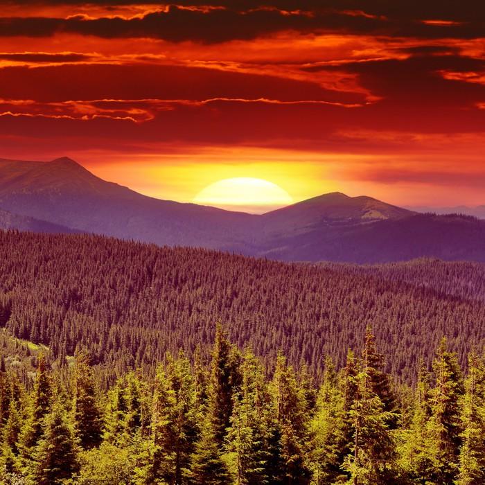 Vinylová Tapeta Fantastický východ slunce na horách - Hory