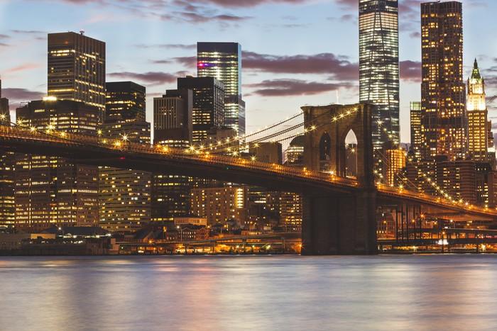 Tableau sur toile pont de brooklyn et downtown gratte ciel - Toile pont de brooklyn ...