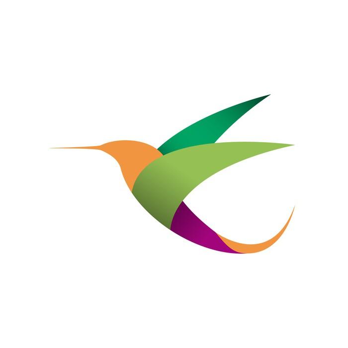 Vector Sign Logo In Flight Hummingbird Wall Mural Pixers We