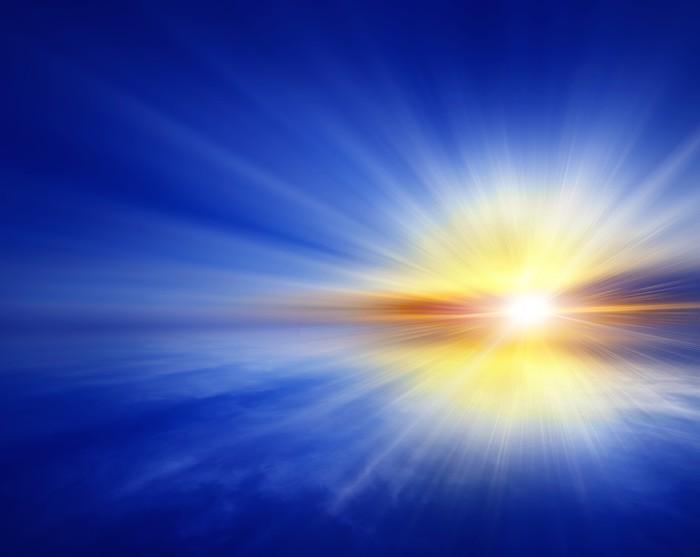 Vinylová Tapeta Západ slunce na otevřeném moři, abstraktní modré pozadí - Nebe