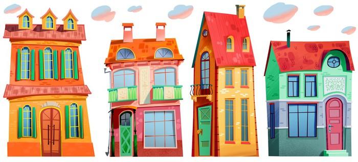 Vinylová Tapeta Budova, město, ulice, struktura, vzor, obec - Domov a zahrada