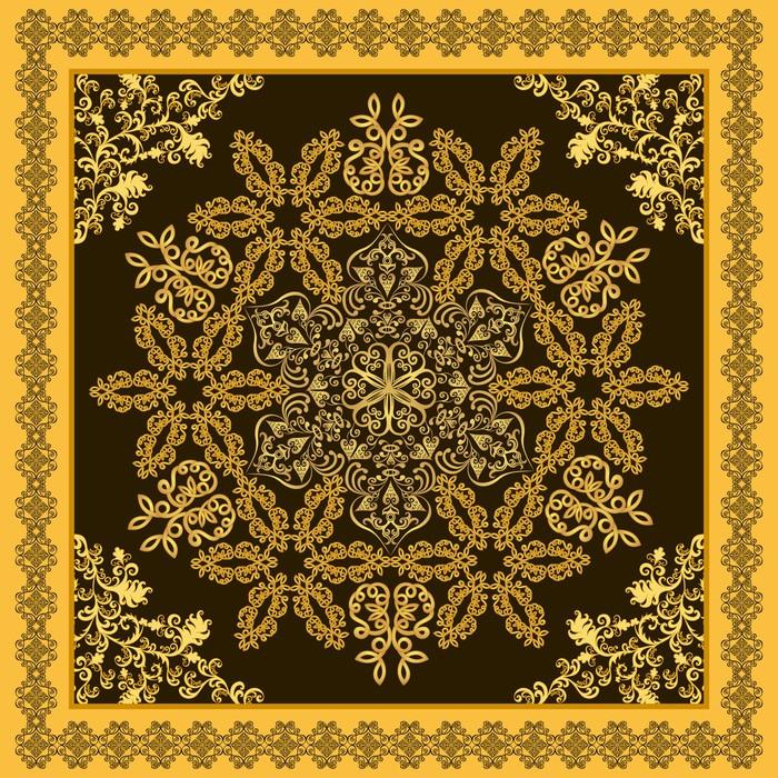 papier peint bandana floral orn sur un fond brun avec. Black Bedroom Furniture Sets. Home Design Ideas