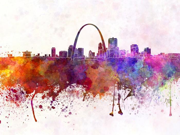 Vinylová Tapeta St Louis panorama v akvarelu pozadí - Amerika