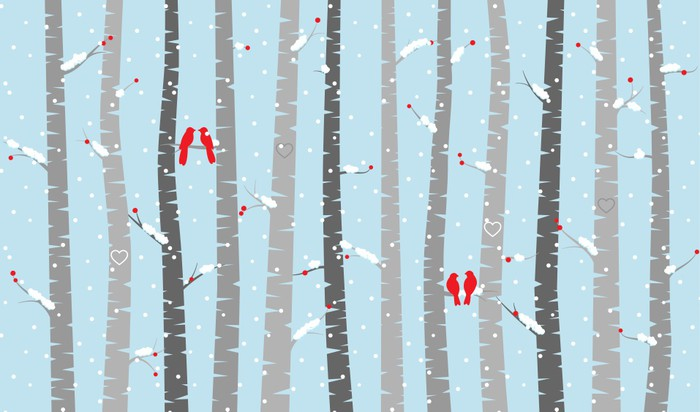 Vector Birch Or Aspen Trees With Snow And Love Birds Wall Mural   Vinyl