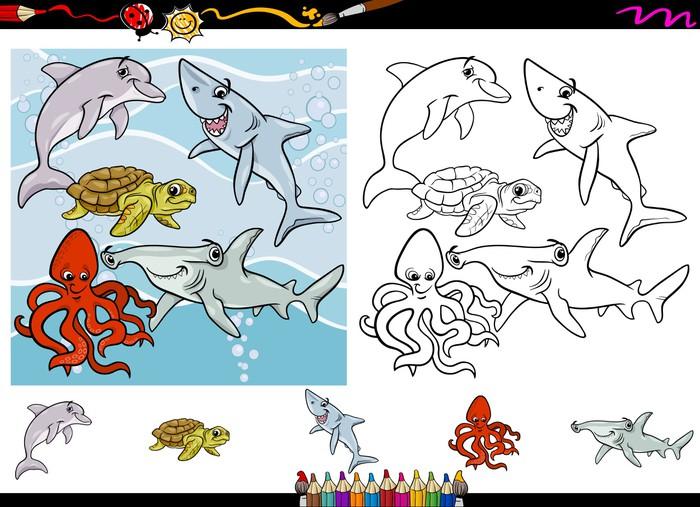 Fotomural Juego de páginas para colorear de dibujos animados de vida ...