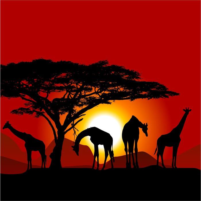 papier peint silhouettes de girafes sur coucher de soleil. Black Bedroom Furniture Sets. Home Design Ideas