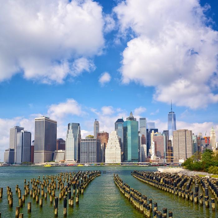 Vinylová Tapeta Dolní Manhattan panorama vidět z Brooklyn Bridge Park, New York - Americká města