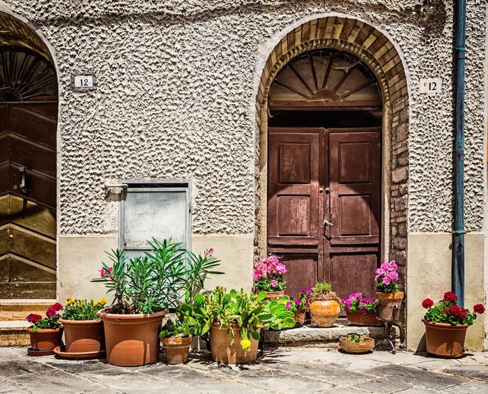 tableau sur toile portes et fen tres dans une ancienne maison d cor es avec des fleurs pixers. Black Bedroom Furniture Sets. Home Design Ideas
