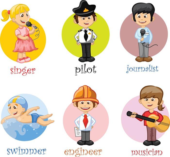 Sticker pour armoire Personnages de dessins animés de différentes professions