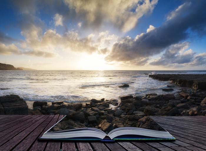 Vinylová Tapeta Krásná krajina při západu slunce s dramatickým mraky krajiny Im - Voda