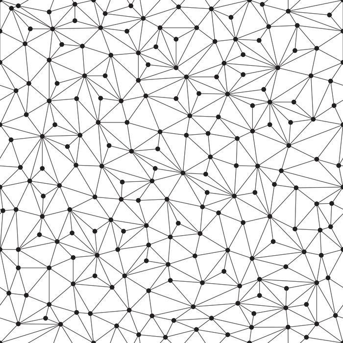 Nálepka na Skříň Polygonální pozadí, bezešvé vzor, čáry a kruhy - Technologie