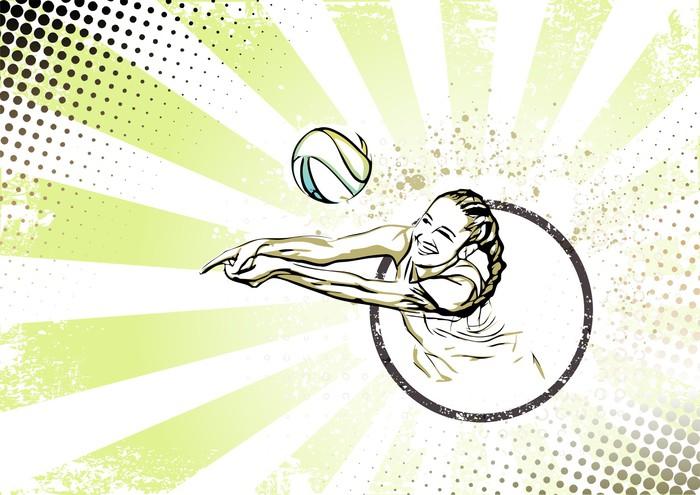 Vinilo Pixerstick Playa retro fondo del cartel de voleibol • Pixers ...