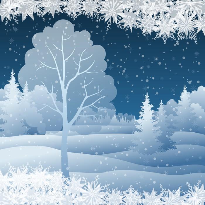 Vinylová Tapeta Zimní vánoční krajina se stromem - Mezinárodní svátky
