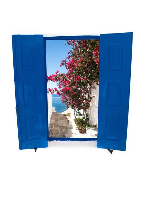 Open traditional Greek blue window on Mykons island Greece Wall
