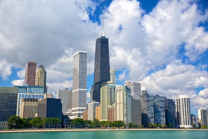 Vinilo para Mesa Lack Horizonte de Chicago con los rascacielos ...