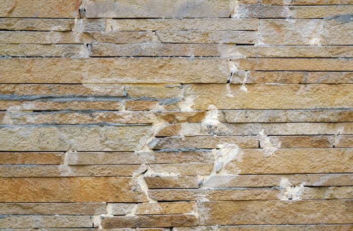 Vinylová Tapeta Plot z béžové úzkých kameny připevněn cementu jako backgr - Struktury