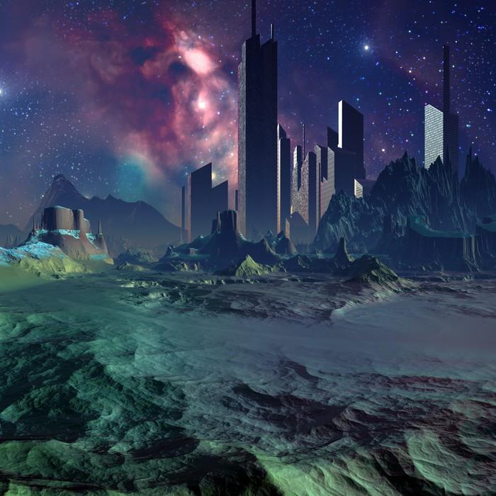 Vinylová Tapeta Futuristický Alien City - počítačové kresby - Meziplanetární prostor